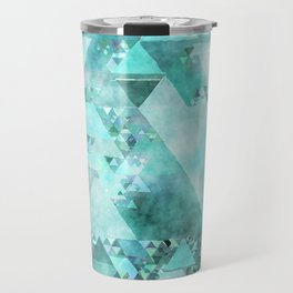 Triangles in aqua - Modern turquoise green blue triangle pattern Travel Mug