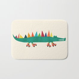 Crocodile on Roller Skates Bath Mat
