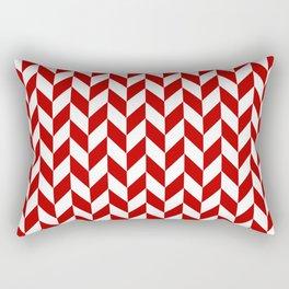 Red and White Herringbone Pattern Rectangular Pillow