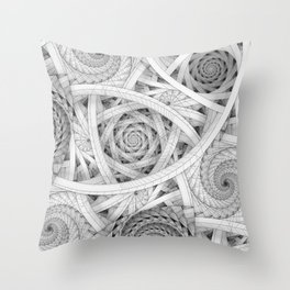 GET LOST - Black and White Spiral Throw Pillow