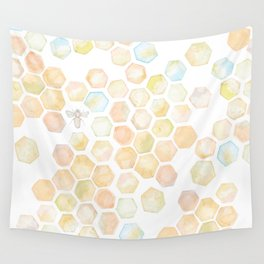 Bee and honeycomb watercolor Wall Tapestry