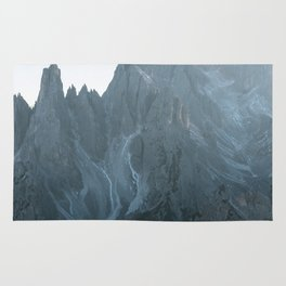 Dolomites mountain range in italy with hiker sunset - Landscape Photography Rug