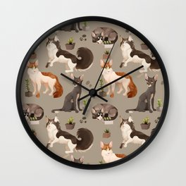 Cat and Cacti Pattern Wall Clock