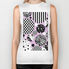Eclectic Black And White Circles On Pastel Pink Biker Tank