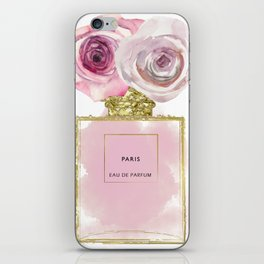 Pink & Gold Floral Fashion Perfume Bottle iPhone Skin