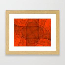 Fractal Eternal Rounded Cross in Red Framed Art Print
