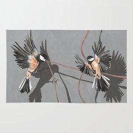 Great Tits Bird Ribbon Grey Rug