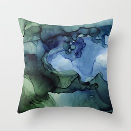 Blue Green Waves Abstract Ink Painting Throw Pillow