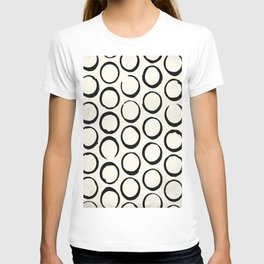 Polka Dots Circles Tribal Black and White T-shirt