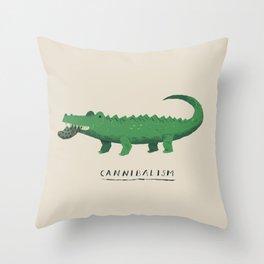 croc cannibalism Throw Pillow