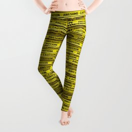 AWESOME, use caution / 3D render of awesome warning tape Leggings