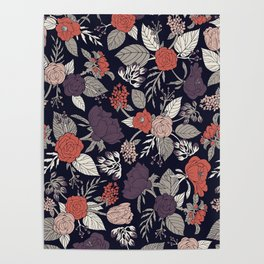 Purple, Gray, Navy Blue & Coral Floral/Botanical Pattern Poster