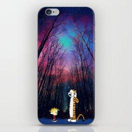 calvin and hobbes nebula night iPhone Skin