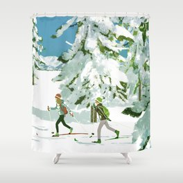 Cross Country Skiing Shower Curtain