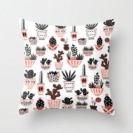 Mid-Century Modern Cacti Throw Pillow