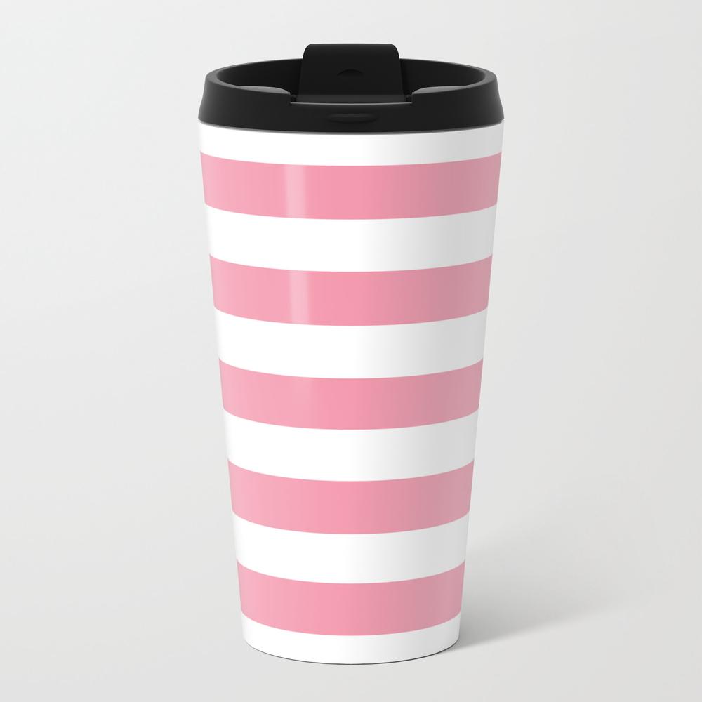 Flower Girl - Solid Color - White Stripes Pattern Travel Mug TRM8919806