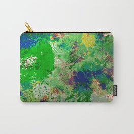 Spring Time Splatter - Abstract blue and green platter painting Carry-All Pouch