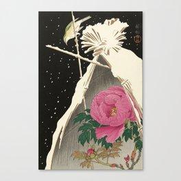 Bird and Peony Japanese Woodcut Canvas Print