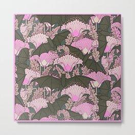 VINTAGE BATS & PINK LILIES ART Metal Print
