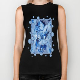 Dove With Celtic Peace Text In Blue Tones Biker Tank