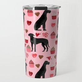 Great Dane black coat valentines day dog breed cupcakes love hearts dog must haves Travel Mug