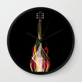Burning Solid Electric Guitar Wall Clock