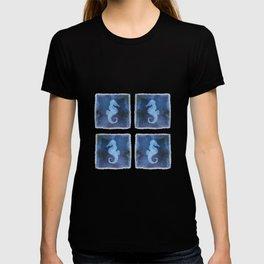 Blue Watercolor Seahorse II pattern T-shirt
