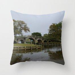 Historic Wooden Bridge At Currituck Light Station Throw Pillow