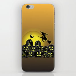 Pumpkins and witch in front of a full moon iPhone Skin