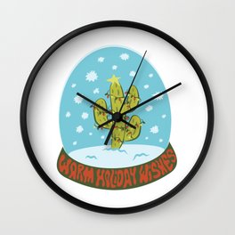 Cactus Snow Globe Wall Clock