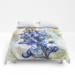 Spring Watercolor Texas Bluebonnet Flowers Comforters