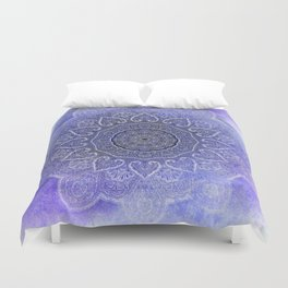 purple mandala of hearts Duvet Cover