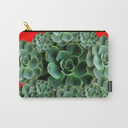 CHINESE  RED ART JADE GREEN SUCCULENTS Carry-All Pouch