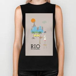 Rio - In the City - Retro Travel Poster Design Biker Tank