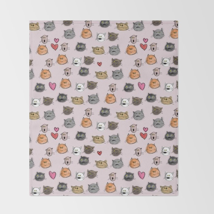 cats pattern pink Throw Blanket