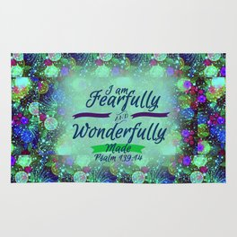FEARFULLY AND WONDERFULLY MADE Floral Christian Typography God Bible Scripture Jesus Psalm Abstract Rug