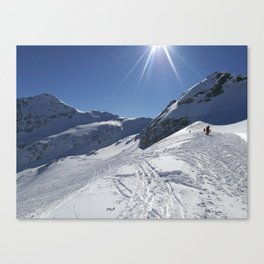 Up here, with sun and snow Canvas Print