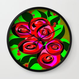 A Bouquet of Roses with Black Petals and Buds of Red Wall Clock