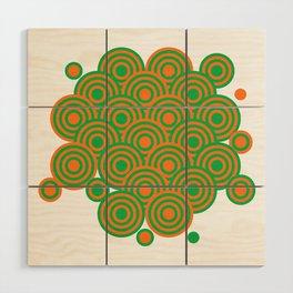 op art pattern retro circles in green and orange Wood Wall Art