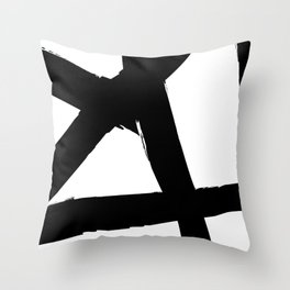 BLACK AND WHITE ABSTRACT BRUSH Throw Pillow