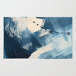 Against the Current: A bold, minimal abstract acrylic piece in blue, white and gold Rug