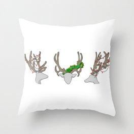 Christmas Reindeer Wreath Throw Pillow