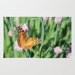 Orange Butterfly on Chives Rug