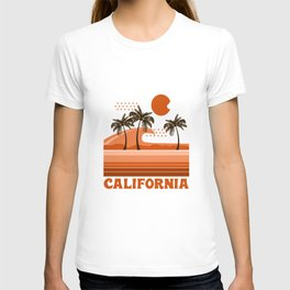 California - retro 70s 1970's sun surfing beach throwback minimal design T-shirt