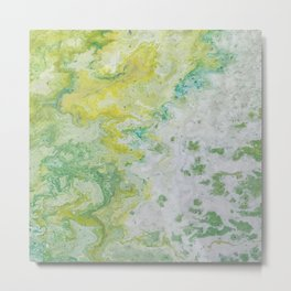 Lime Green Aqua Yellow Textured Abstract Metal Print