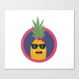 Cool pineapple with sunglasses Canvas Print