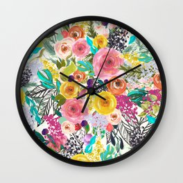 Vibrant Autumn Floral with Turquoise Wall Clock