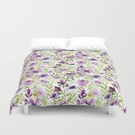 Watercolor/Ink Purple Floral Painting Duvet Cover