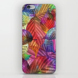Coloured Leaf Collage iPhone Skin