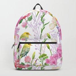 Pink Irises, Hydrangeas, Greenery, Yellow Birds Backpack